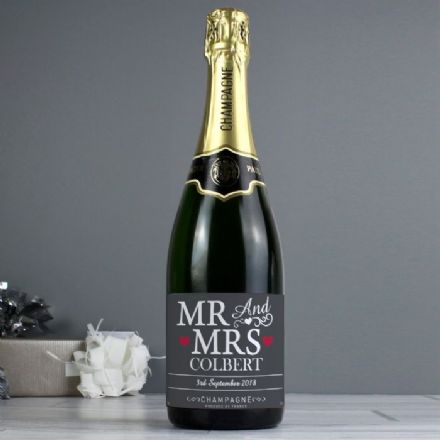 Personalised Mr and Mrs Champagne